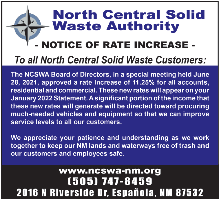 Notice of Rate Increase beginning January 2022